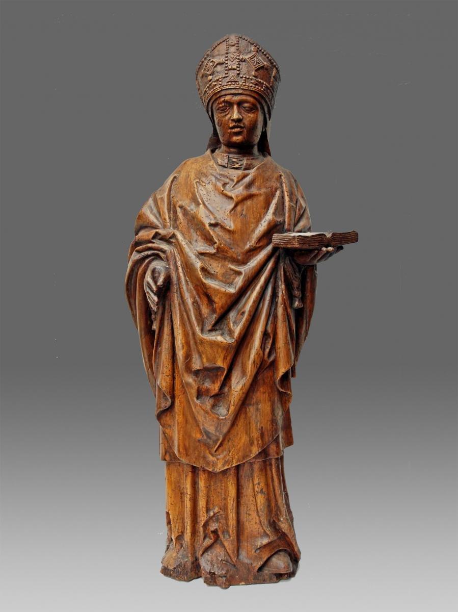 Sculpture Pontiff Haute Epoque Wood