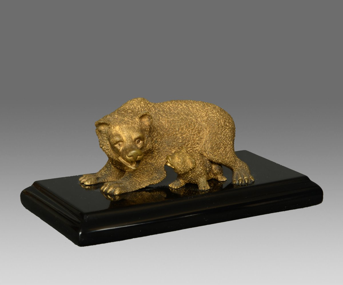 Bear With Its Small Bronze Dore Russia XIX Th Century