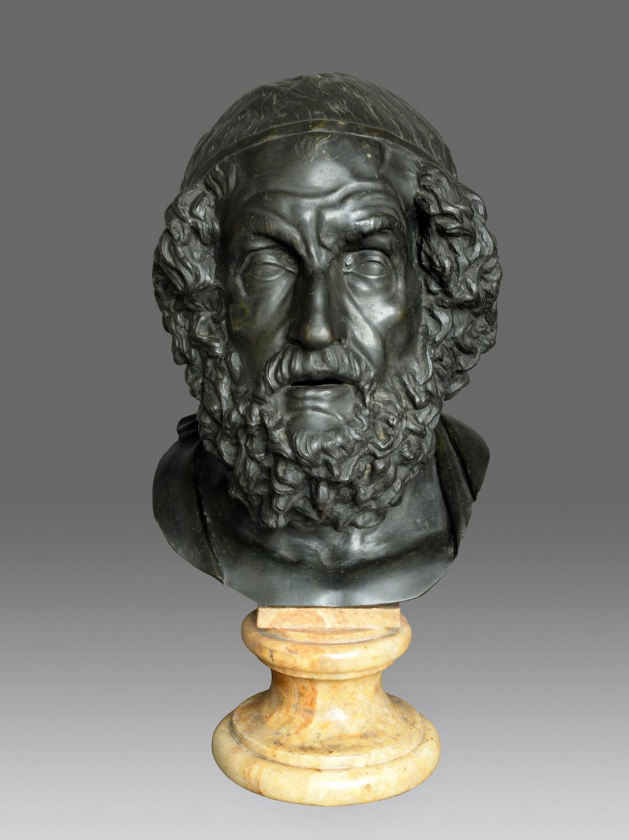 Bust Of The Philosopher Homer 19th Century
