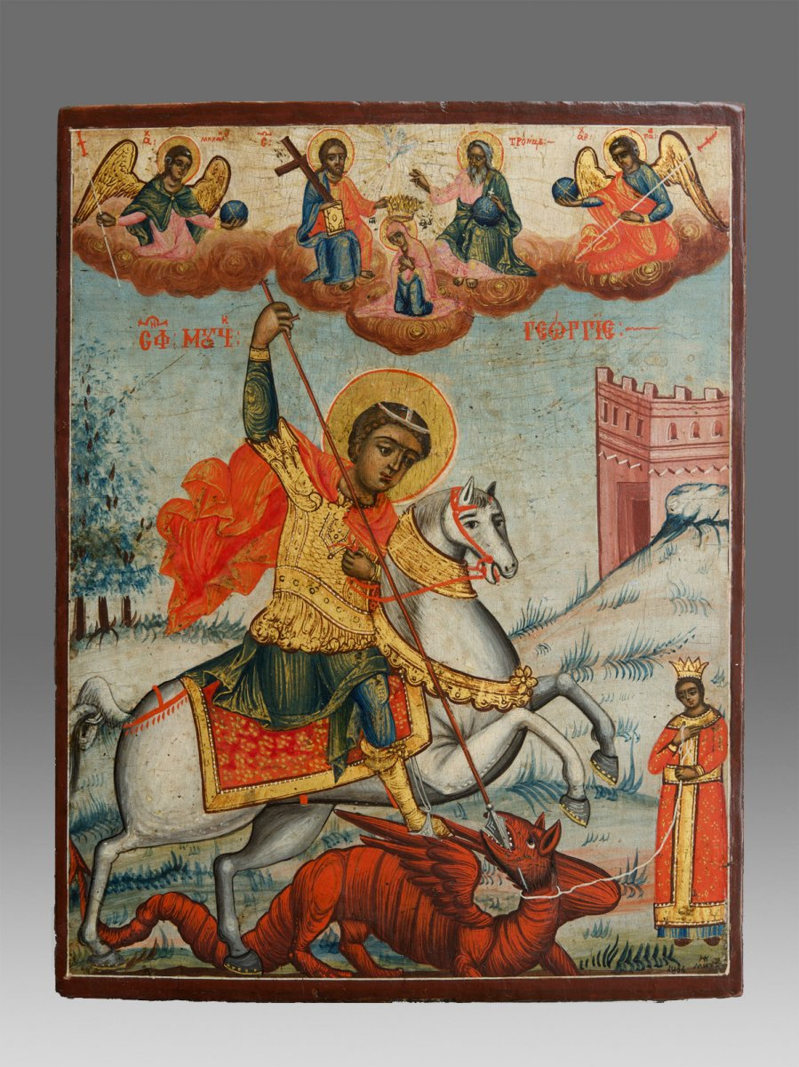 Icon Saint George Fighting With The Dragon Dated 1806
