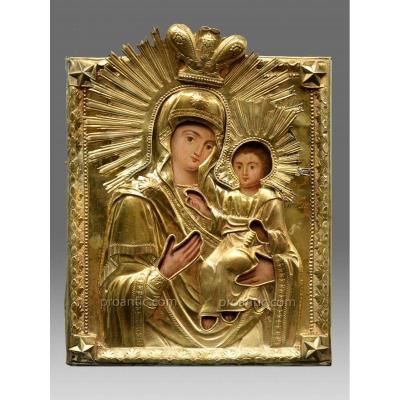 Icône De La Vierge Smolenskaja Acec Riza En Argent - Icon Icone Ikone
