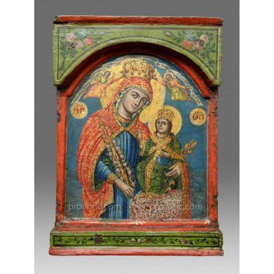 Icone Vierge Avec La Rose D´aucune Fletrissure