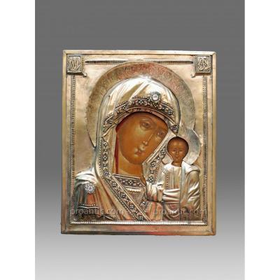 Icône Vierge De Kazan Avec Un Riza En Laiton - Icon Icone Ikone