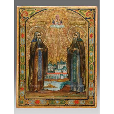 Icône  Zosima Et Sawatij Vers 1880 - Icon Icone Ikone