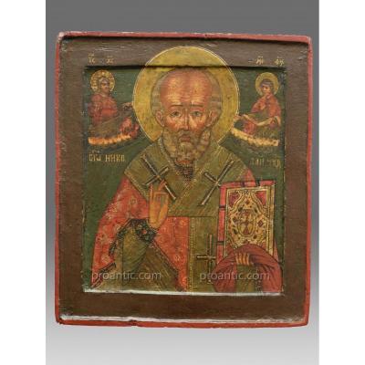 Icône de Saint Nicolas Vers 1800 Russie Du Nord