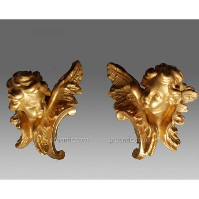 Pair Of Golden Angels 18th Century