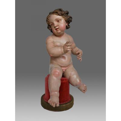 Sculptures bois Enfant Jesus,  Ange Assis Naples  18eme Siecle