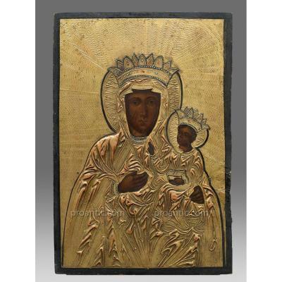 Icon Virgin Iwerskaja Russia Circa 1880