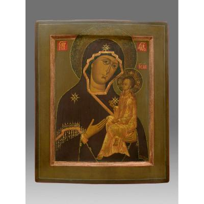 Icon Of The Virgin Of Tichwin Around 1850 - Icon Ikone Icon