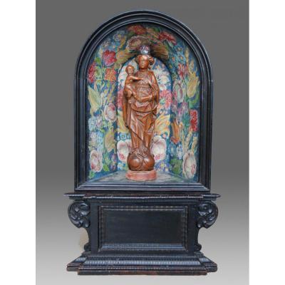 Sculptures bois Vierge En Buis Dans Un Coffret 17eme Siecle