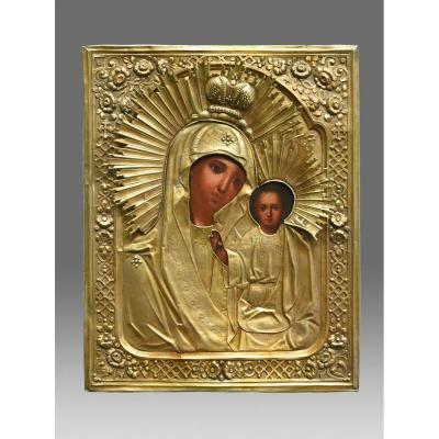 Icône Russe Vierge De Kazan Avec Riza En Argent Doré