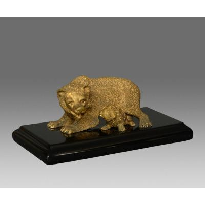 Bear With Its Small Bronze Dore Russia XIX Th Century