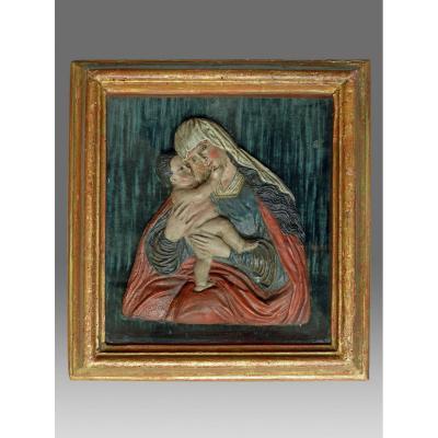 Vierge A l'Enfant Bas Relief Passau Bavière 18ème Siècle