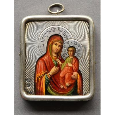 Icone Icon Vierge Iwerskaja Avec Riza En Argent