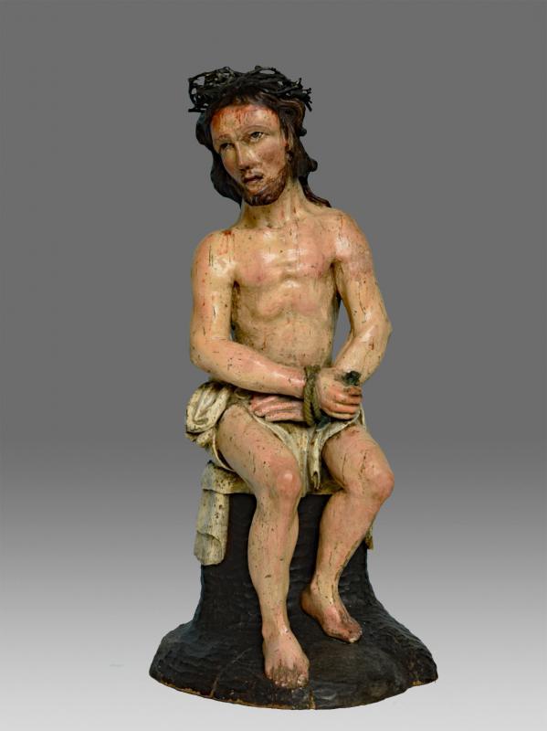 Christ Aux Liens Bois Sculpté 17 ème Siècle-photo-3