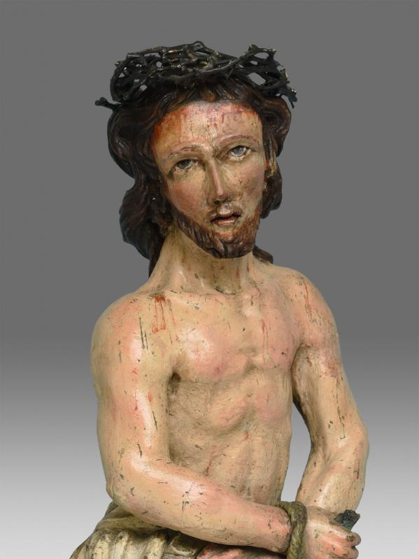 Christ Aux Liens Bois Sculpté 17 ème Siècle-photo-4