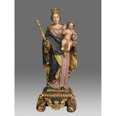 Virgin And Child Wood Carved Sculptures Date 1779