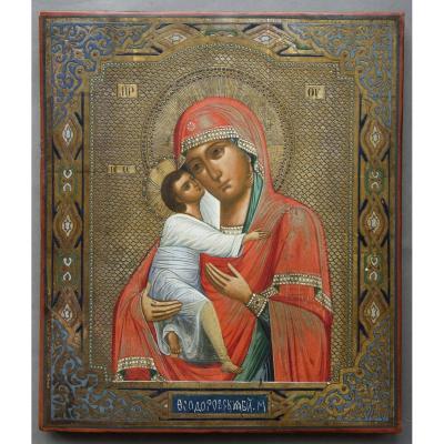 Icon  Vladimirskaja Circa 1880 Russia