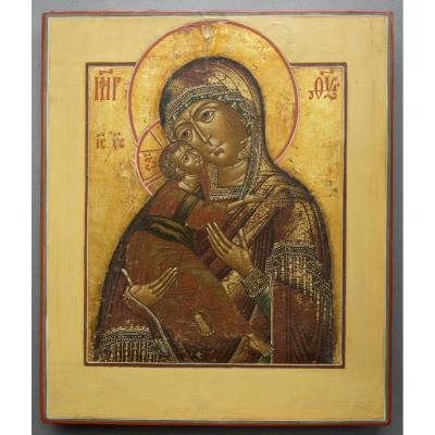 Icon representing the virgin of Vladimir.<br /> Russia in the Moscow region, and dates from the late 18th century.<br /> The Virgin holds tendrementle Christ with his right arm, his cheeks affectionate touch.<br /> Cypress wood.<br /> Paifait state of condition.<br /> Piece of a collection!