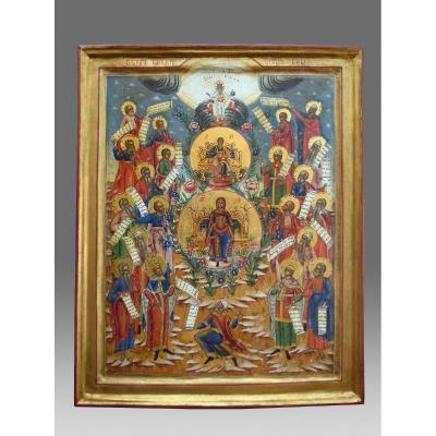 Icone  Icon Mère De Dieu Et Les Phrophètes Fin 19ème Siècle