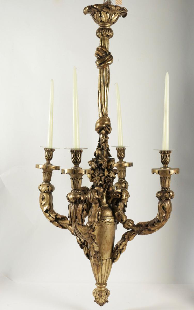 lustre en bois sculpt et dor du xix me si cle pour l. Black Bedroom Furniture Sets. Home Design Ideas