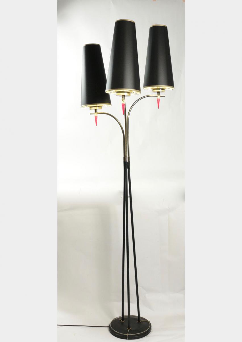 Lampadaire des années 1960 en métal peint et laiton, 3 lumières.