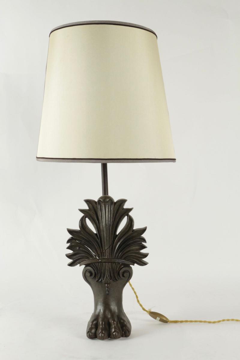 Antique Bathtub Lions Claw Foot Changed Into A Lamp. 19th Century.