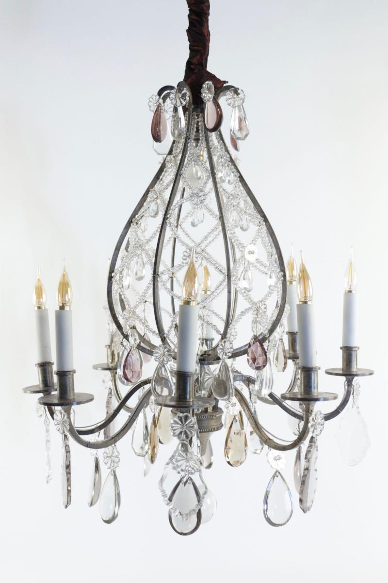 Beau Lustre Montgolfière Renversée En Bronze Argenté Du XIXème Siècle Et Pampilles, 9 Lumières.