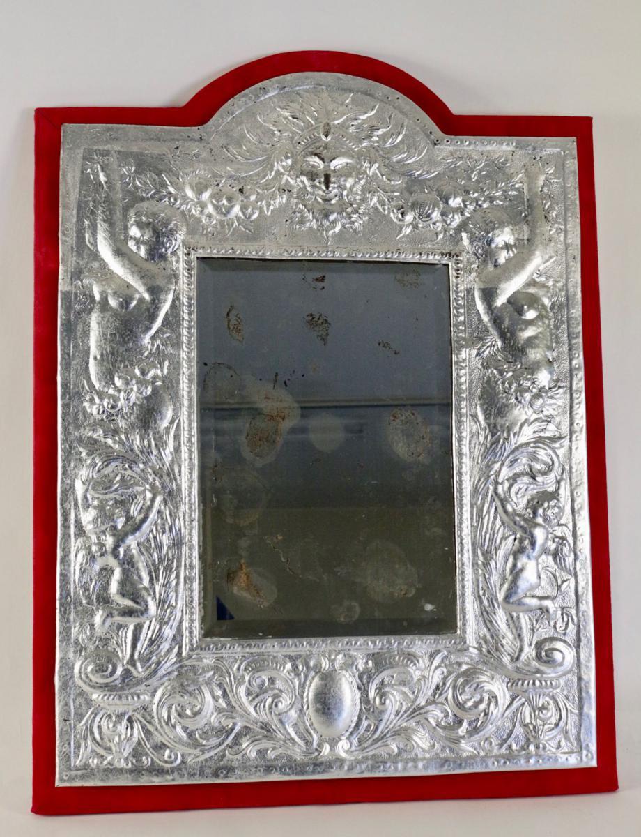 Miroir, XIXème Siècle, En Métal Argenté à La Feuille d'Argent, époque Napoléon III.