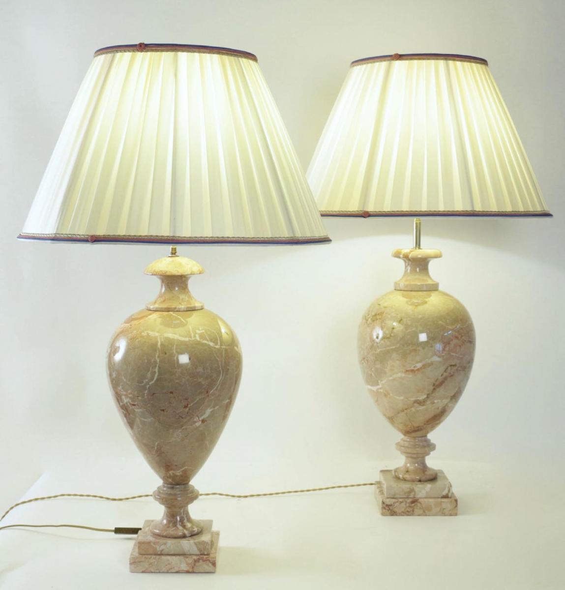 Paire De Lampes En Marbre, XXème Siècle