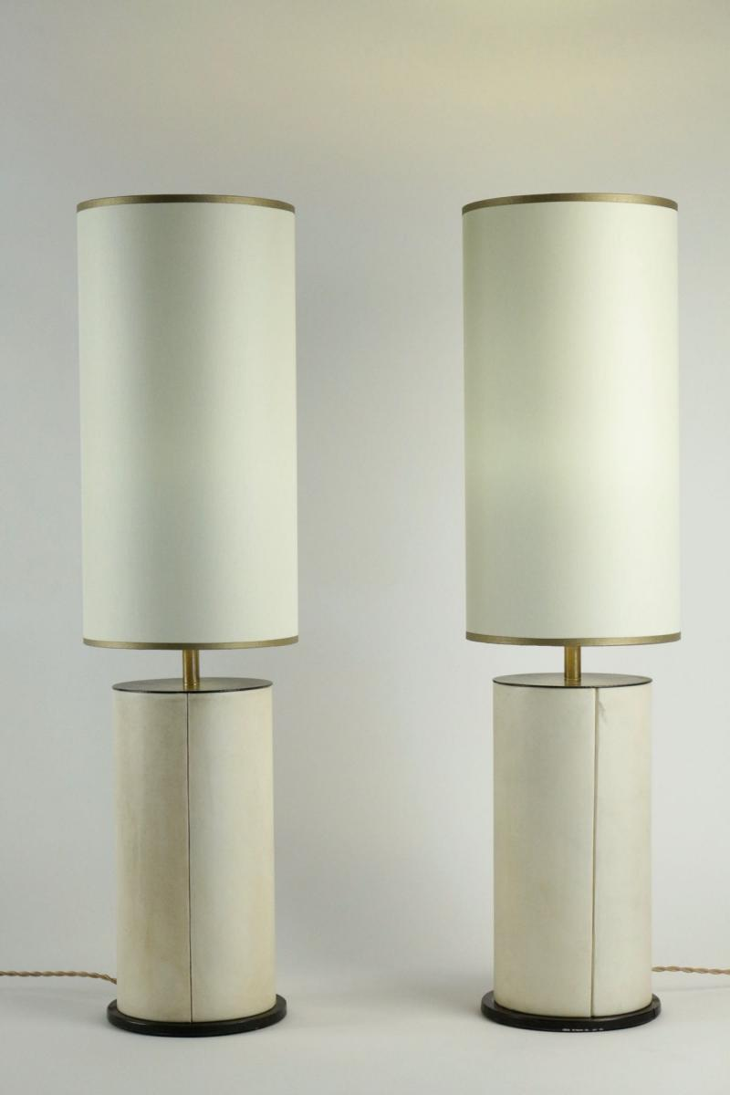 Pair Of Lamps In Parchment And Bronze, 1940