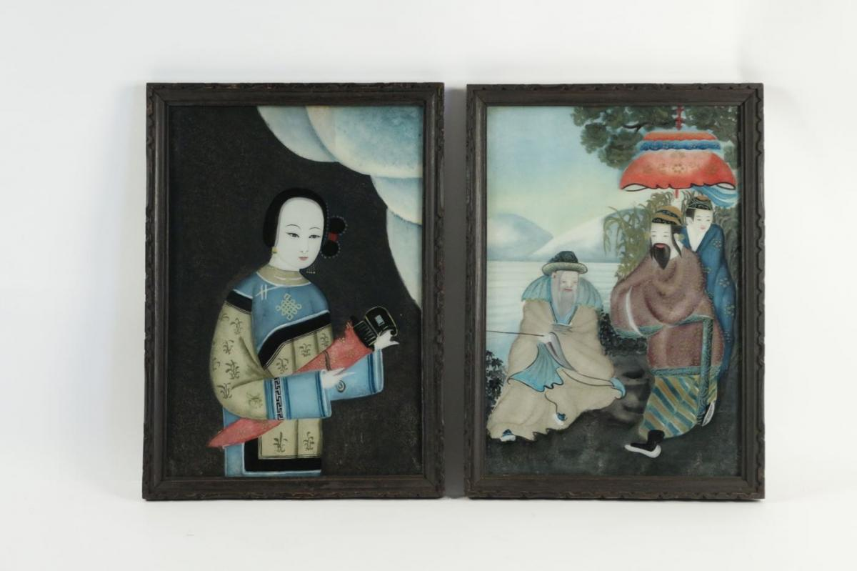 Pair Of 19th Century Asian Painting Under Glass Of Superior Quality