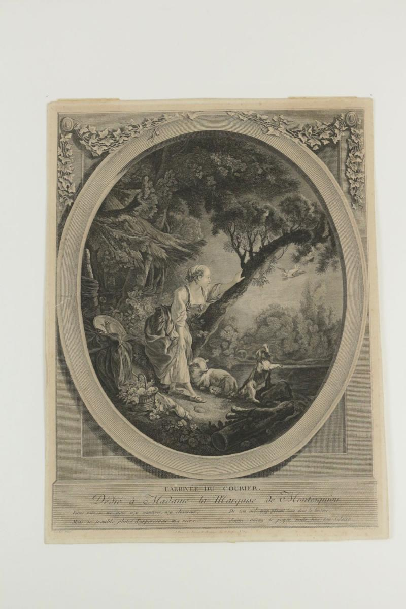 """Pair Degravure Romantic, XIXth Century, """"the Departure Of The Courier"""" The Arrival Of The Courier """"-photo-3"""