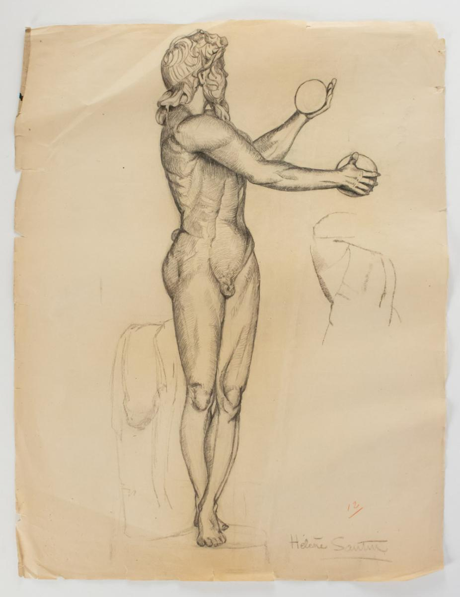Drawing Schoolboy Black Mine, Signed Helen Sautin, Twentieth Century