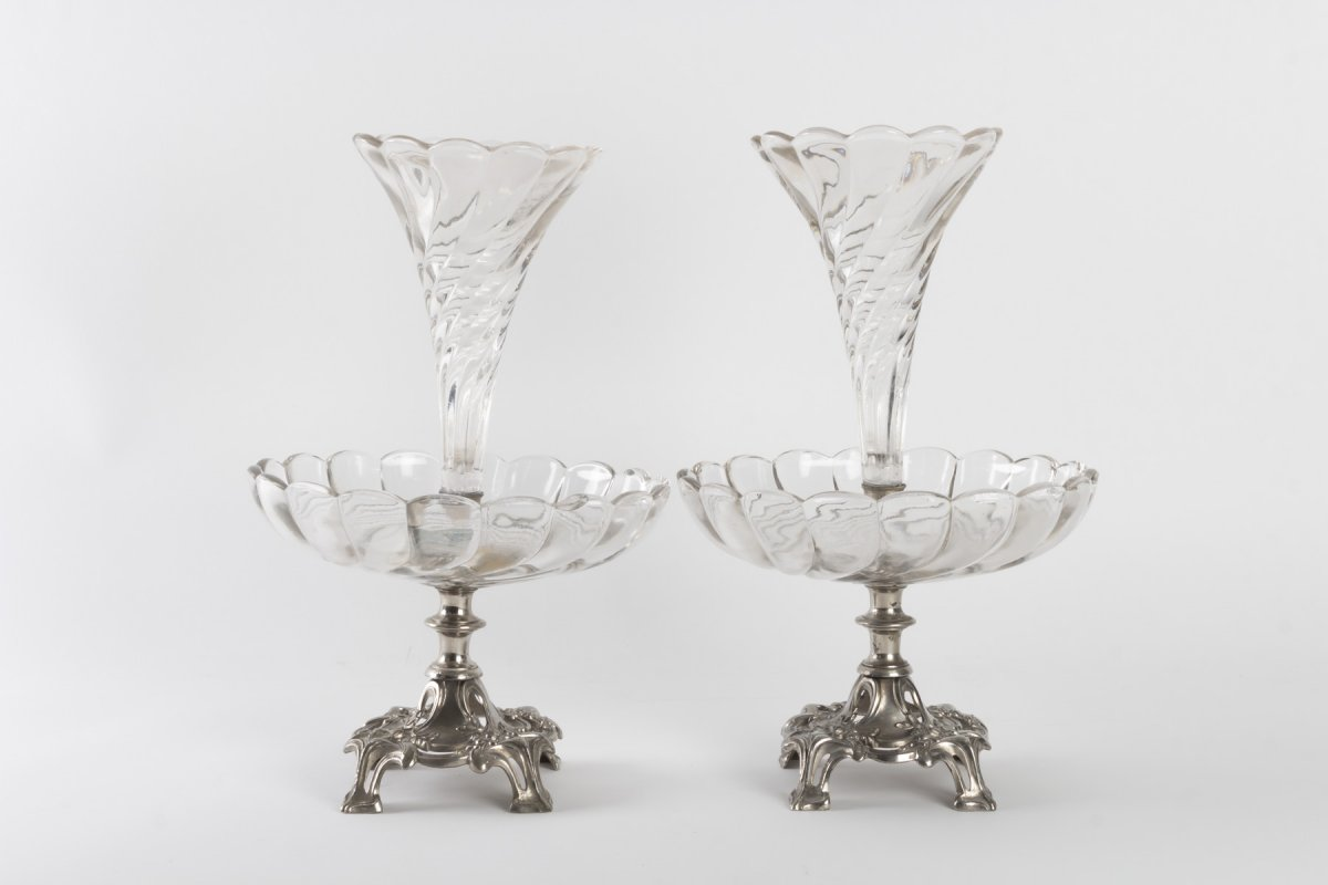 Pair Of Silvered And Crystal Metal Bouquetières, Art Nouveau, 1910