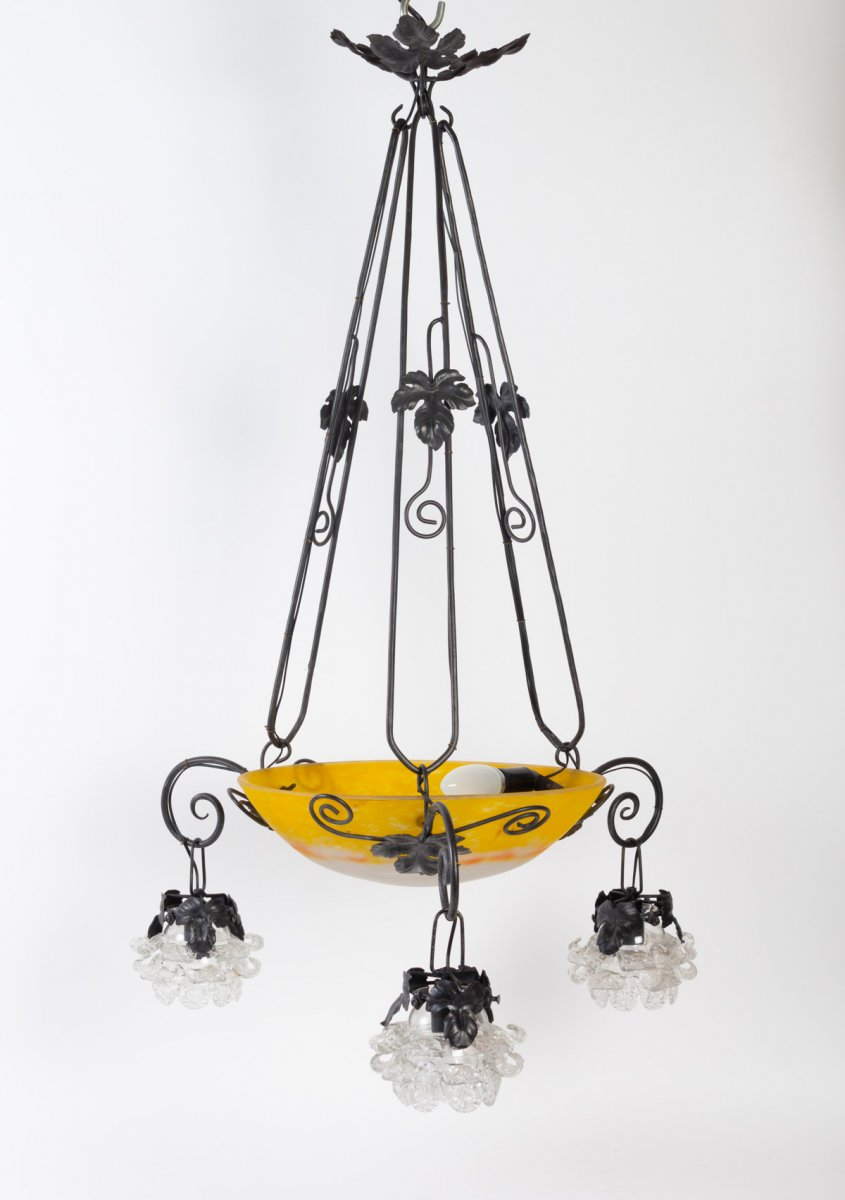 Wrought Iron Art Nouveau Chandelier And Glass Paste Bowl And Flowers, 1900