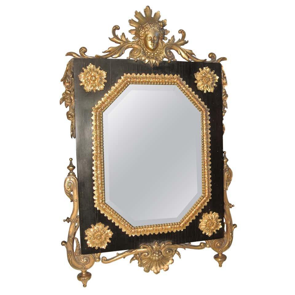 Miroir De Table Bronze Ciselé Et Doré Sur Ebène, Antiquité Epoque Napoléon III