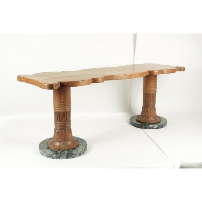 Table Basse Des Années1930 En Bois Et Marbre.