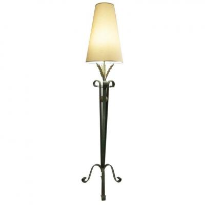 Wrought Iron Floor Lamp In A 1940.