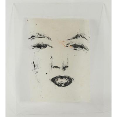 Peinture Des Années 1970 Sur Plexiglass.