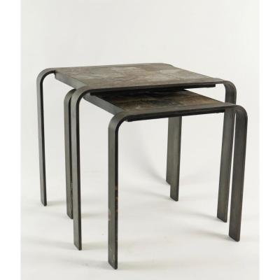 Nesting Tables Of The 1960 - 70's In Wrought Iron And Slate.
