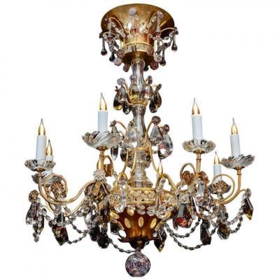 Chandelier, Maison Baguès, 1940, 12 Lights, Crystal Pendants, Large Decoration