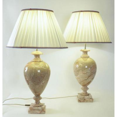 Pair Of Marble Lamps, 20th Century