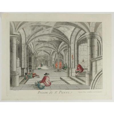 """Lithographie, Gravure, Colorisée, Titre: """" Prison De St Pierre"""""""