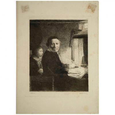 Gravure, XIXème Siècle, Représentant Une Peinture De Rembrand, Par Francesco Novellsine