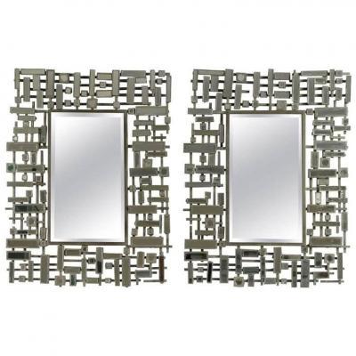 Paire De Miroirs, Art Moderne, Acier et Résine, XXème