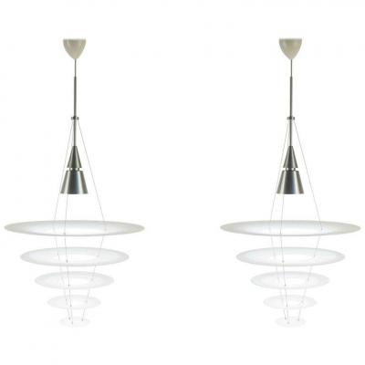 Pair Chandeliers, Suspensions, Contemporary Art, By Louis Poulsen House