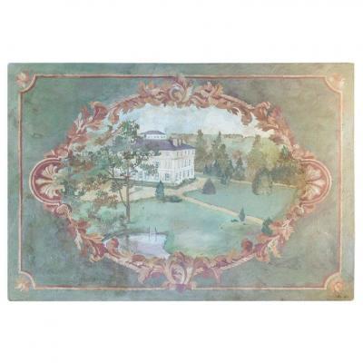 Toile Peinte Du XXème Siècle Dans Le Goût De l'Antiquité, Représentant Le Château De La Marche