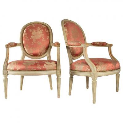 Paire De Fauteuils Médaillon De Style Louis XVI, XIXème Siècle Ou Début Du XXème Siècle
