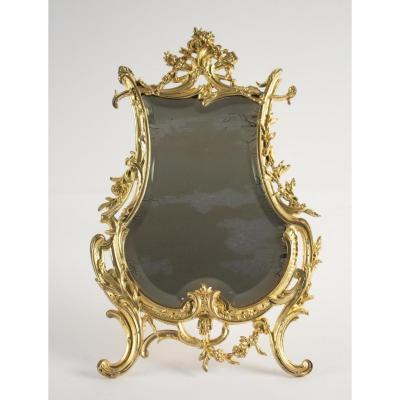 Miroir De Table En Bronze Doré d'Origine, d'époque Napoléon III, Style Louis XV, 19ème Siècle